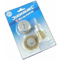 Brassed Steel Wire Wheel & Cup Brush Set 3pce - 3pce
