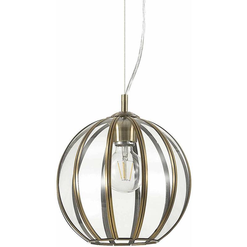 01-ideal Lux - Braune RONDO Pendelleuchte 1 Glühbirne aus Metall