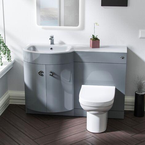 Braxter 1100mm LH Bathroom Basin Combination Vanity Unit - Eslo Back To Wall Toilet