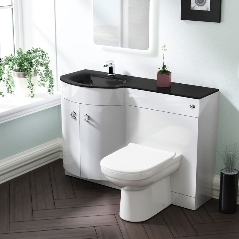 Neshome - Tate LH 1100mm Vanity Basin Unit & Elso Back to Wall Toilet White