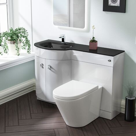 Braxter LH White Vanity Sink and Elen Rimless BTW Toilet Combo with Black Basin Unit