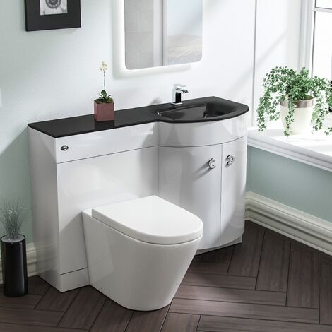 Braxter RH White Vanity Sink and Elen Rimless BTW Toilet Combo with Black Basin Unit