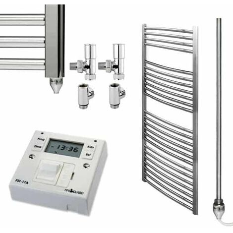 BRAY Curved Heated Towel Rail / Warmer, Chrome - Dual Fuel + Fused Spur Timer