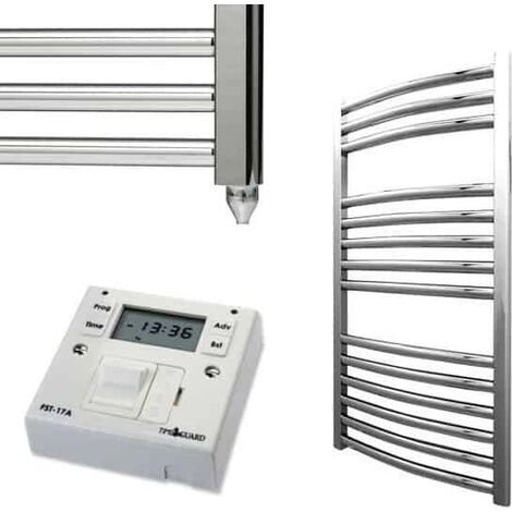 BRAY Curved Heated Towel Rail / Warmer, Chrome - Electric + Fused Spur Timer
