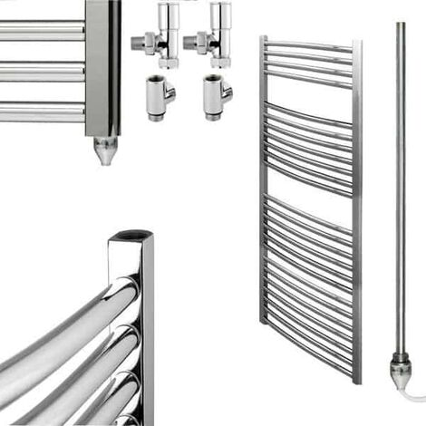 BRAY Curved Heated Towel Rail / Warmer / Radiator, Chrome - Dual Fuel, Electric