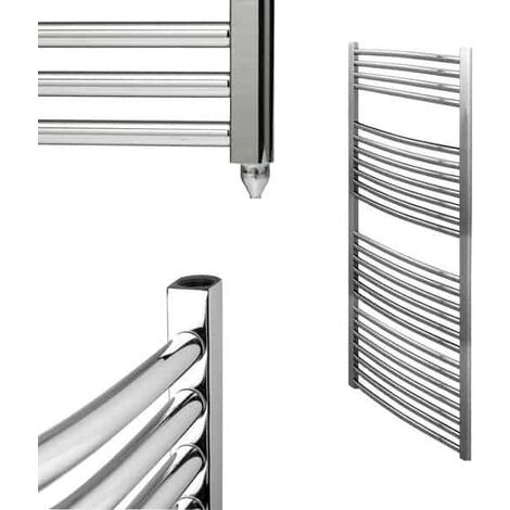 BRAY Curved Heated Towel Rail / Warmer / Radiator, Chrome - Electric