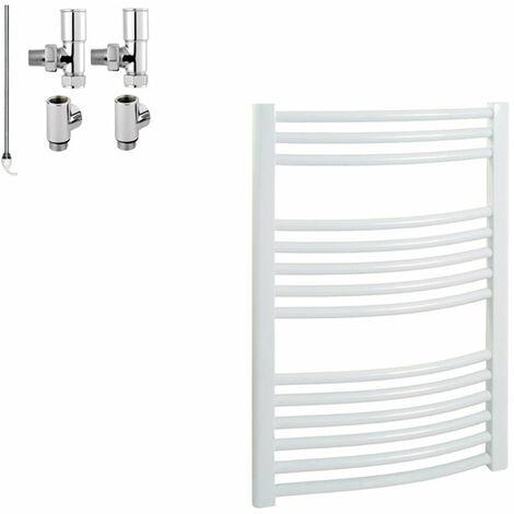 BRAY Curved Heated Towel Rail / Warmer / Radiator, White - Dual Fuel, Electric