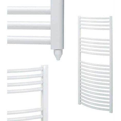 BRAY Curved Heated Towel Rail / Warmer / Radiator, White - Electric
