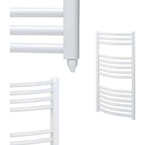 BRAY Curved Heated Towel Rail / Warmer / Radiator, White - Electric