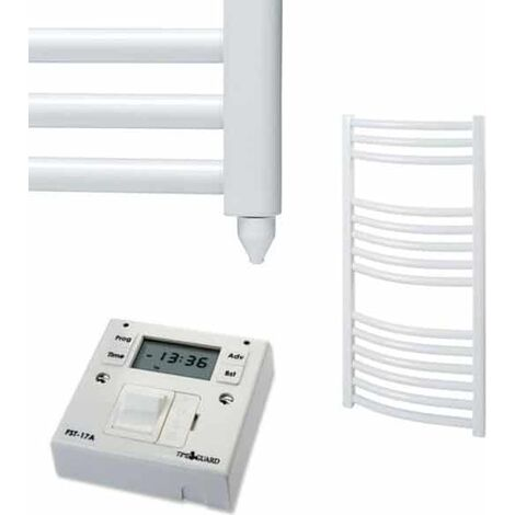 BRAY Curved Heated Towel Rail / Warmer, White - Electric + Fused Spur Timer