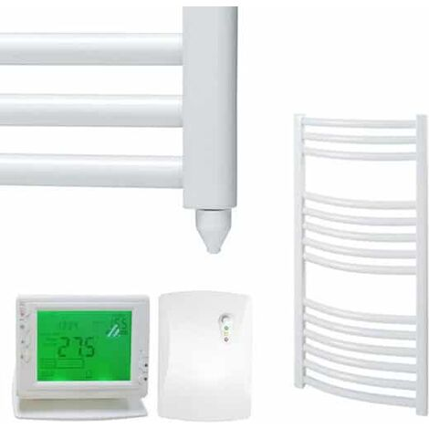 BRAY Curved Heated Towel Rail / Warmer, White - Electric + Wireless Timer, Thermostat