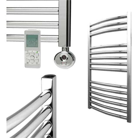 BRAY Curved Towel Warmer / Heated Towel Rail, Chrome - Electric, Thermostat + Timer