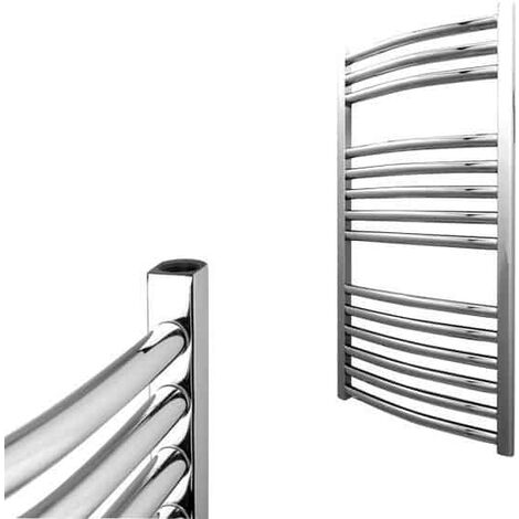 BRAY Curved Towel Warmer / Heated Towel Rail Radiator, Chrome - Central Heating