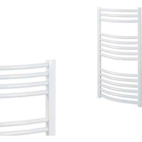 BRAY Curved Towel Warmer / Heated Towel Rail Radiator, White - Central Heating