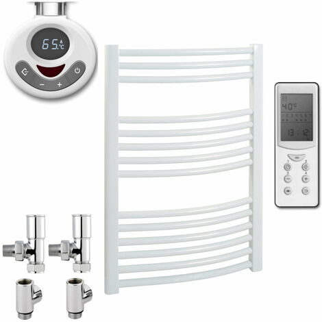 BRAY Curved Towel Warmer / Heated Towel Rail, White - Dual Fuel, Thermostat + Timer