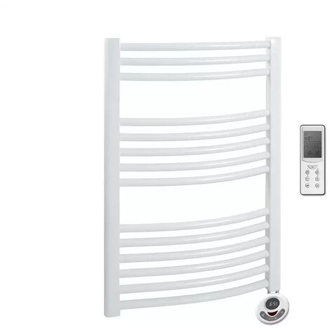 BRAY Curved Towel Warmer / Heated Towel Rail, White - Electric, Thermostat + Timer