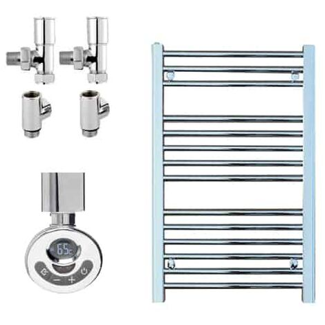 BRAY Straight Heated Towel Rail / Warmer, Chrome - Dual Fuel, Thermostat + Timer