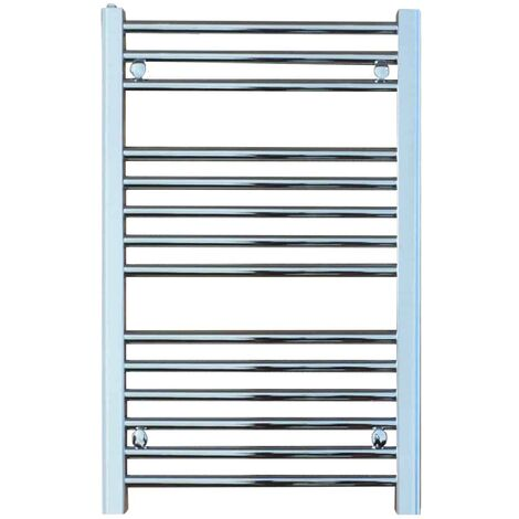 BRAY Straight Heated Towel Rail / Warmer, Chrome - Electric + Fused Spur Timer