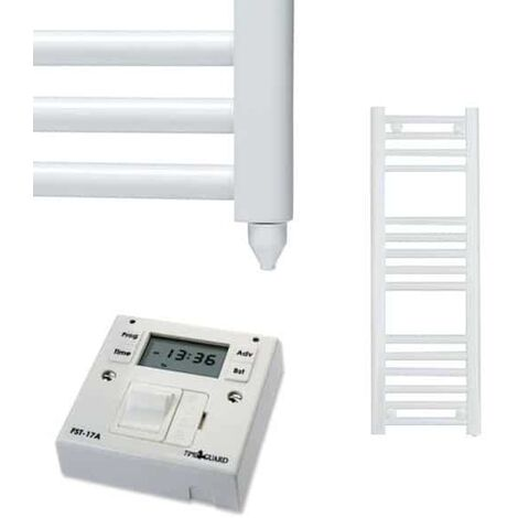 BRAY Straight Heated Towel Rail / Warmer, White - Electric + Fused Spur Timer