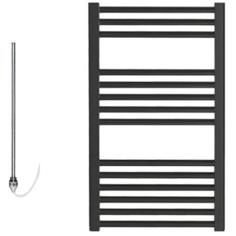 BRAY Straight or Flat Heated Towel Rail / Warmer / Radiator, Black - Electric, 50cm x 80cm