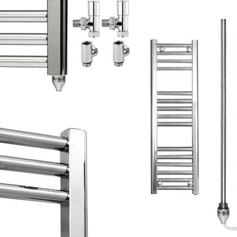 BRAY Straight or Flat Heated Towel Rail / Warmer / Radiator, Chrome - Dual Fuel