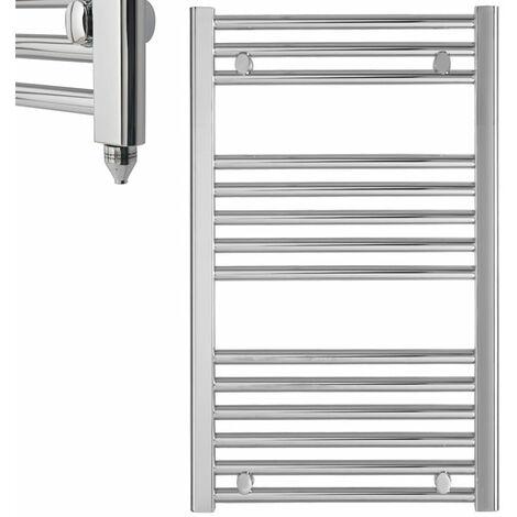 BRAY Straight or Flat Heated Towel Rail / Warmer / Radiator, Chrome - Electric