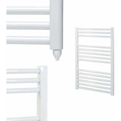 BRAY Straight or Flat Heated Towel Rail / Warmer / Radiator, White - Electric
