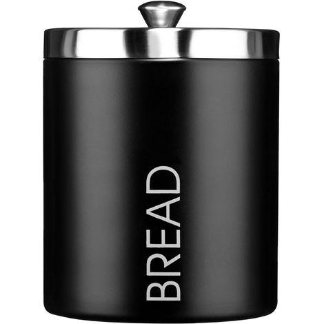 Bread Bin,Black Enamel,Satin Stainless Steel Lid