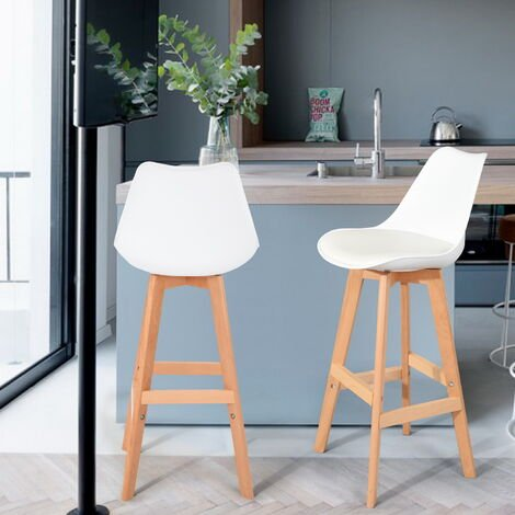 Breakfast kitchen counter BarChair chair white bar stools set of 2 PU leather stools with solid wood feet for kitchen stools bar chairs, counter