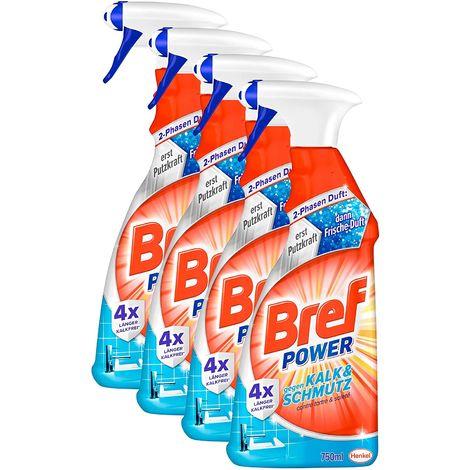 Bref Power Kalk & Schmutz 4er Pack Kalkreiniger Sprühflasche 4x750 ml Reiniger