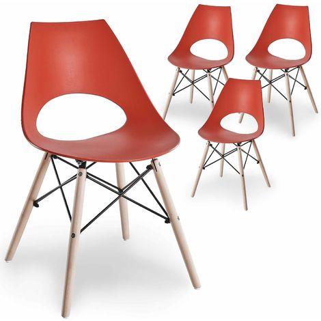 BREGA - Chaises design rouges lot de 4