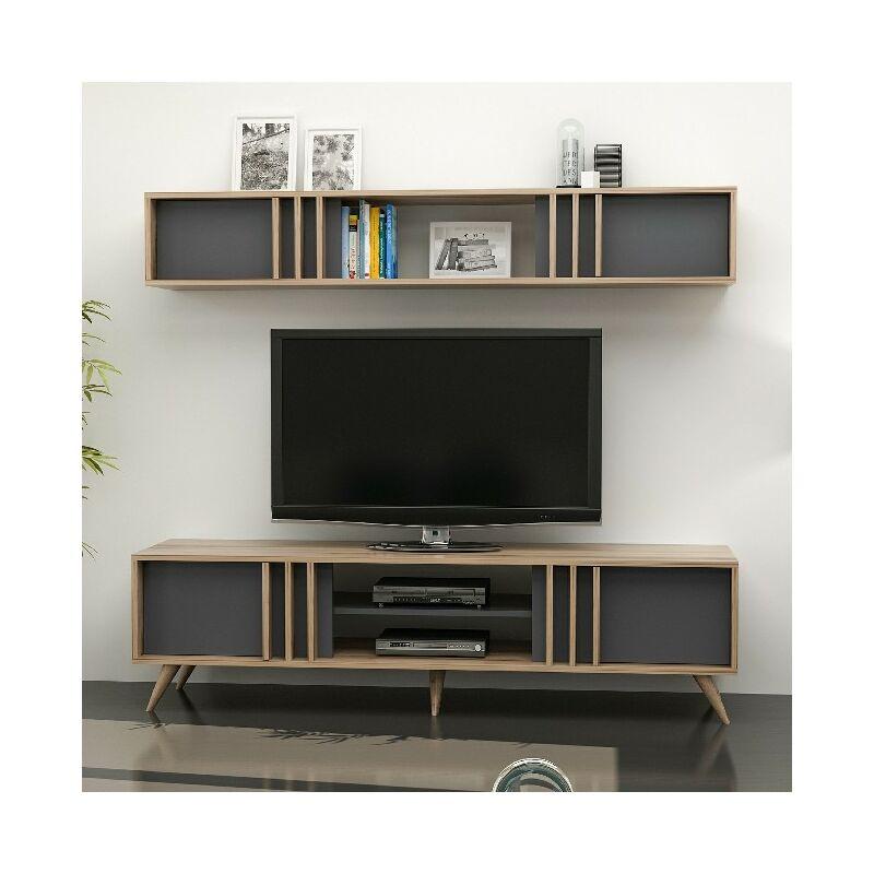 Homemania - Bren TV-Schrank - Modern - mit Tueren, Regal, Einlegeboeden - vom Wohnzimmer - Nussbaum, Anthrazit aus Holz, 180 x 25 x 29 cm