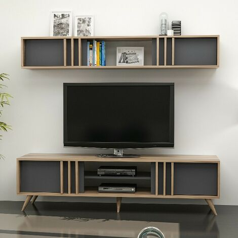 Bren TV Stand - with Doors, Shelves - for Living Room - Walnut, Anthracite, made in Wood, 180 x 35 x 48 cm