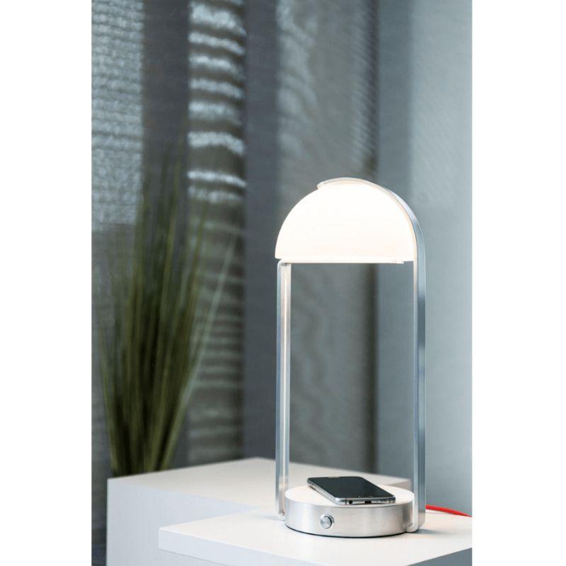 Lampe à poser Brenda LED 3000K chargement sans fil Argent Argent