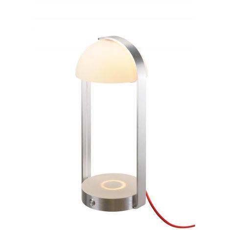 BRENDA LED, lampe à poser, blanc argent, chargement sans fil, 3000K - Blanc/argent
