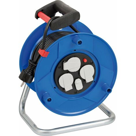 Brennenstuhl 1215050600 Garant Enrouleur de câble à 3 compartiments avec fonction de charge USB et câble de 25 m Poignée ergonomique Bleu
