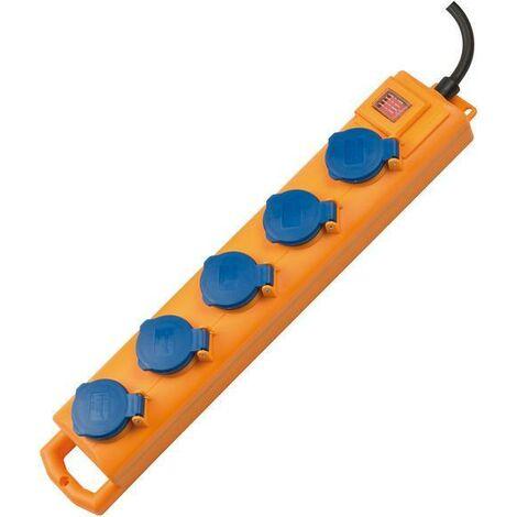 Brennenstuhl Bloc multiprise Super-Solid SL 554 DE IP54 5 prises jaune/bleu 2m H07RN-F3G1,5 avec interrupteur