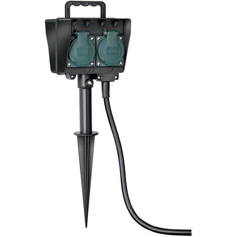 brennenstuhl Brennenstuhl Gartensteckdose, Außensteckdose 4-fach mit Erdspieß, witterungsbeständiger Kunststoff (wasserfestes Gehäuse - 1,4m Kabel) schwarz