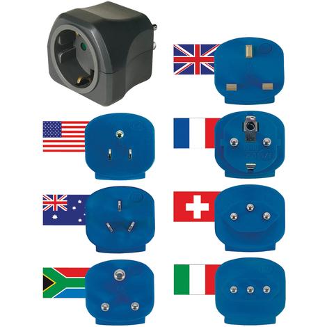 Brennenstuhl Juego de viaje de conectores macho universales con conexión a tierra de 16 A, apto para más de 150 paises