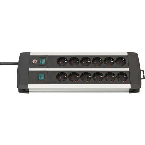 Brennenstuhl Premium-Alu-Line Technique, 12 prises, Duo, noir, 3m H05VV-F 3G1,5, prises commutables par six - 1391000912