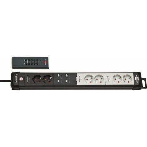 Brennenstuhl Premium-Line Bloc multiprises à commutation radio RC PL1 1001 6 prises noir/gris clair 3m H05VV-F 3G1,5 - 1951160609