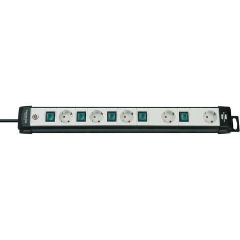 brennenstuhl Premium-Line Technik 5-Fach Steckdosenleiste schwarz/grau einzeln Schaltbar mit 3m Kabel