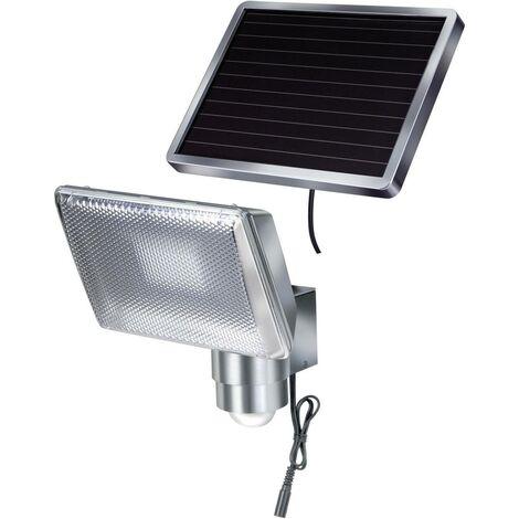 brennenstuhl Projecteur solaire à LED SOL 80 ALU IP44 avec détecteur de mouvement infrarouge 8xLED 0,5W 350lm longueur de câble 4,75m couleur ALU