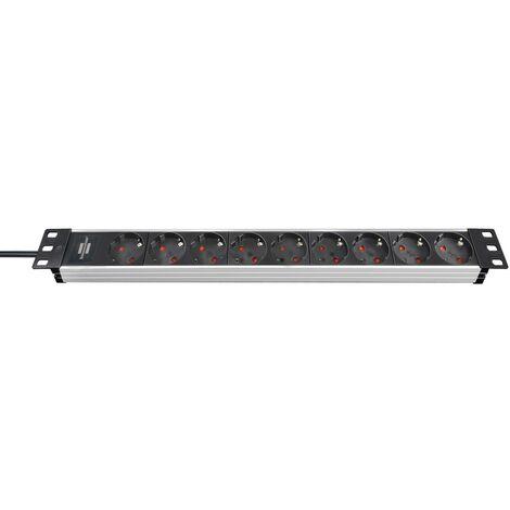"""Brennenstuhl Prolongateur multiprise Alu-Line 19"""" pour armoires électriques 9 prises alu/noir 2m H05VV-F 3G1,5 sans interrupteur"""