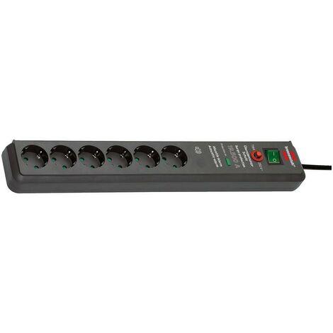 Brennenstuhl Prolongateur multiprise signal sonore Secure-Tec avec parasurtenseur 19.500A 6 prises anthracite 3m H05VV-F 3G1,5