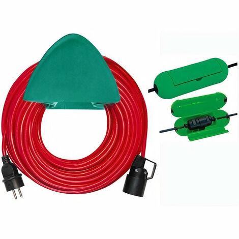 BRENNENSTUHL Rallonge électrique rouge 40m H05VV-F 3G1,5 avec support mural et safe-box