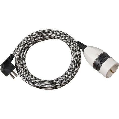 Brennenstuhl Rallonge en plastique avec interrupteur rotatif et gaine textile 5m H05VV-F 3G1,5 noir/blanc - 1161830020