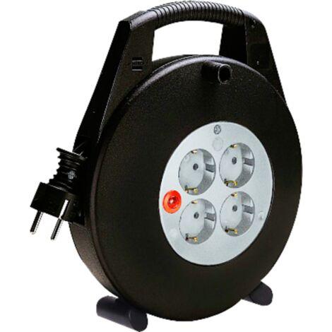 15m Kabeltrommel mit Kabelführung und Überspannungsschutz 4x Schutzkontakt 16A