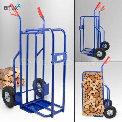 Brennholz Sackkarre Kaminholzkarre Brennholzkarre Holzkarren Holztransporthilfe mit Luftbereifung bis 100kg