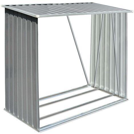 Brennholzlager Verzinkter Stahl 163 x 83 x 154 cm Grau